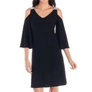MSK Black Open Shoulder Rhinestone Dress Small